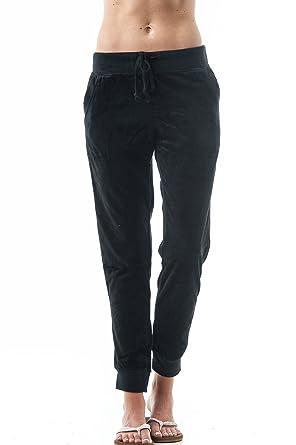 ddc7a77122 Khanomak Drawstring Velvet Velour Front Slant Pockets Casual Joggers  Trousers