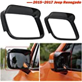 buyinhouse 1pair Rearview Eyebrow Frame - for 2015-2017 Jeep Renegade - Carbon Black Rearview Mirror Rain Eyebrow Covers