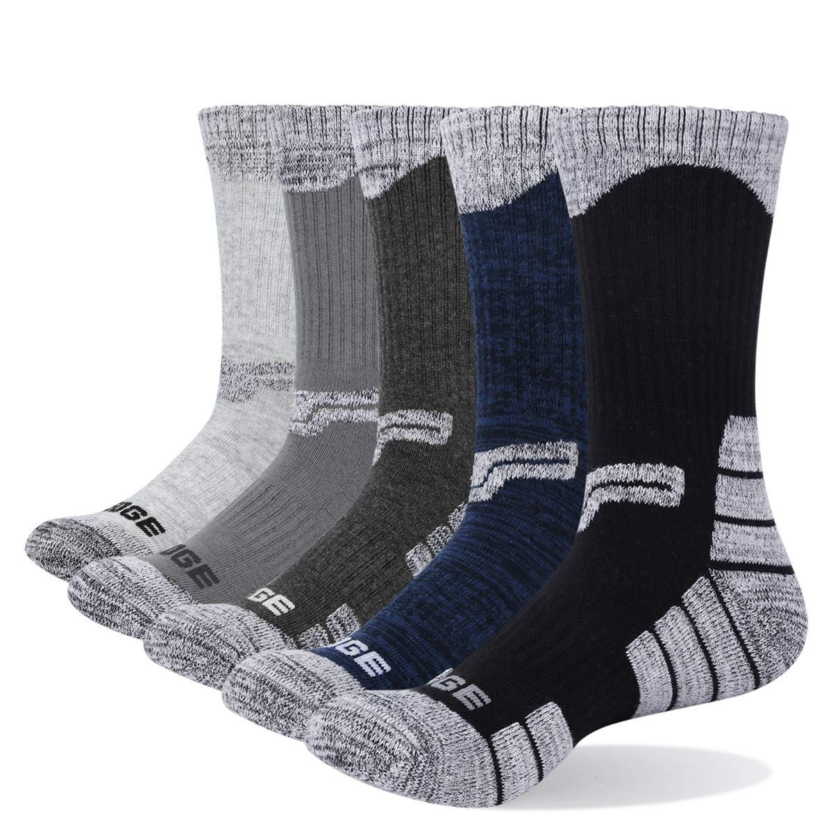 YUEDGE Men's Cotton Cushion Crew Socks Casual Athletic Walking Hiking Socks (5 Pairs/Pack XL) by YUEDGE