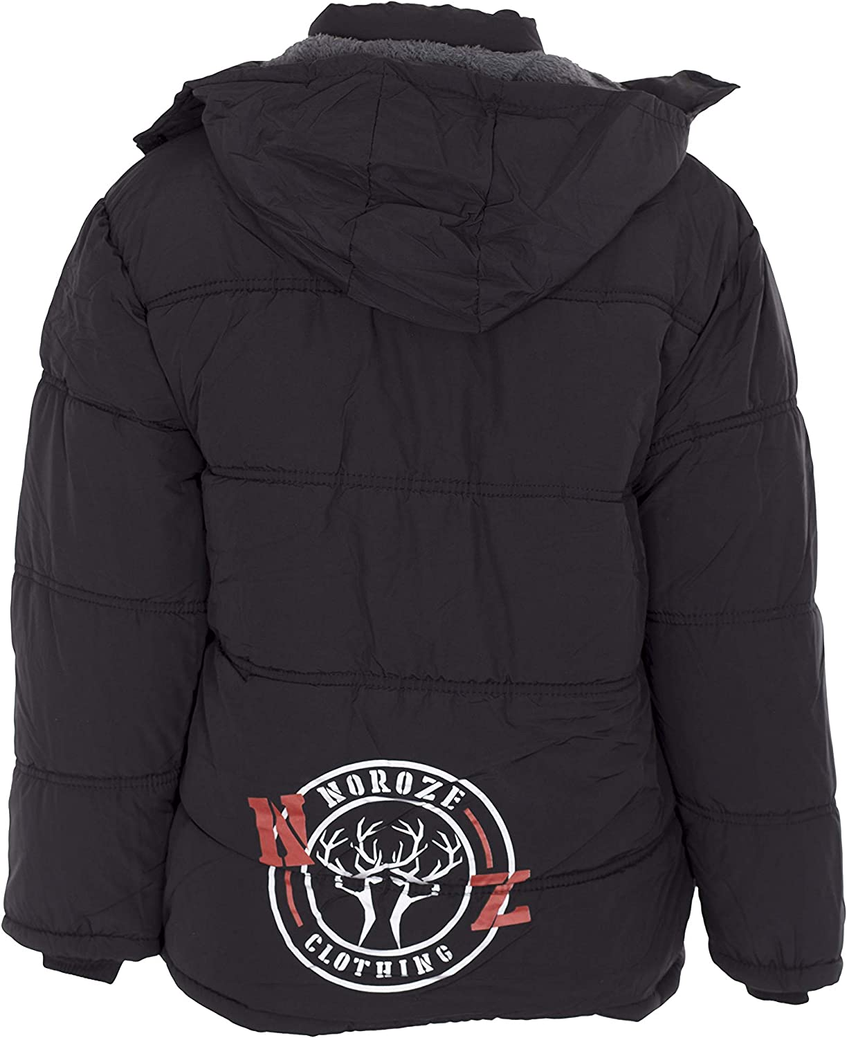 NOROZE Kids Boys Thick Polyester Faux Fur Winter Hooded Jacket 3-13