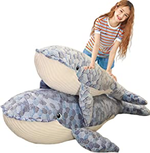 N-A Soft Humpback Whale Plush Hugging Pillow, Large Blue Whale Stuffed Animals Toy Plushie Shark Fish Gifts (19.7/27.6/35.4/43.3Inch)