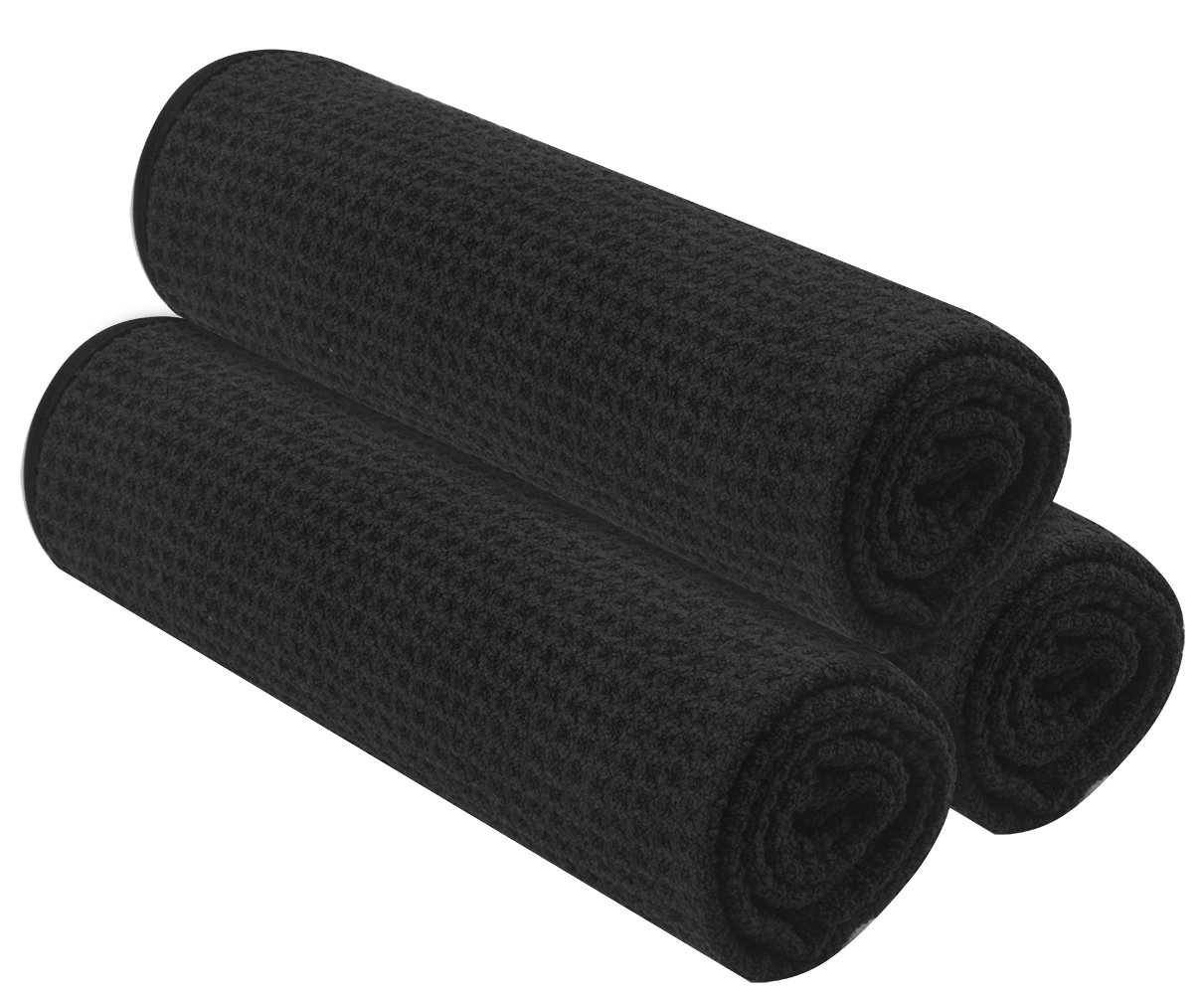 KinHwa Scatch Free Auto Detailing Towels Microfiber Car Drying Towels Super Absorbent Car Cleaning Towels Lint Free Waffle Weave Car Wash Towel (Blackx3, 16inchx24inch)