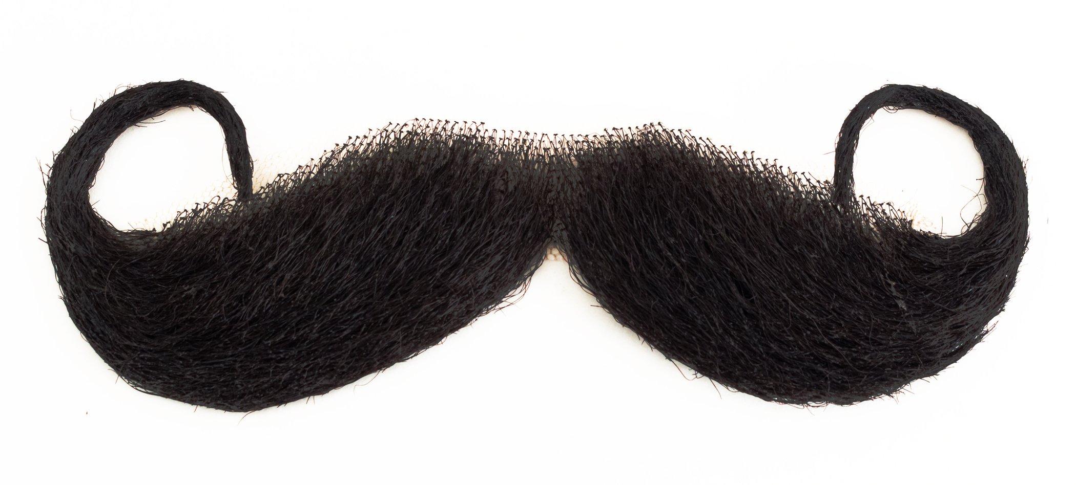 Star Power Real Human Hair Handlebar Moustache, Black, One Size