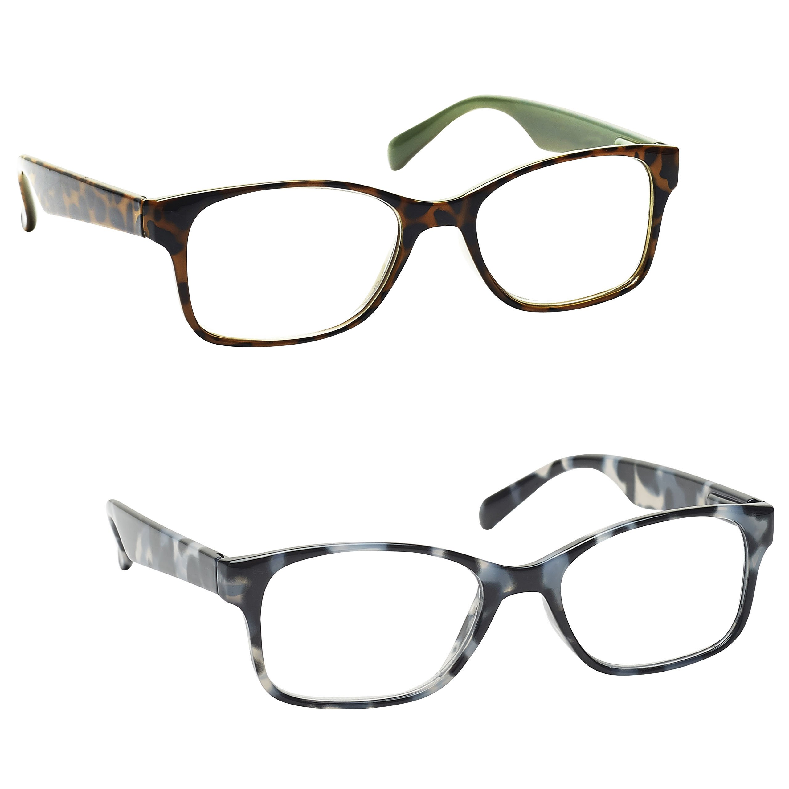 The Reading Glasses Company Brown Mint Green & Grey Tortoiseshell Readers Value 2 Pack Mens Womens Inc Bag RR71-27 +1.00