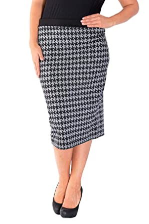 38b81c693b Nouvelle Womens Plus Size Dogtooth Ponte Pencil Skirt Sizes 12-14 to ...