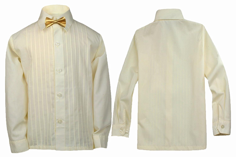 LEADERTUX Baby Kids Boy Formal Tuxedo Suit Ivory Button Down Dress Shirt Color Bow tie 0-7