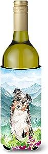 Caroline's Treasures CK1995LITERK Mountian Flowers Australian Shepherd Wine Bottle Beverage Insulator Hugger, Wine Bottle, multicolor