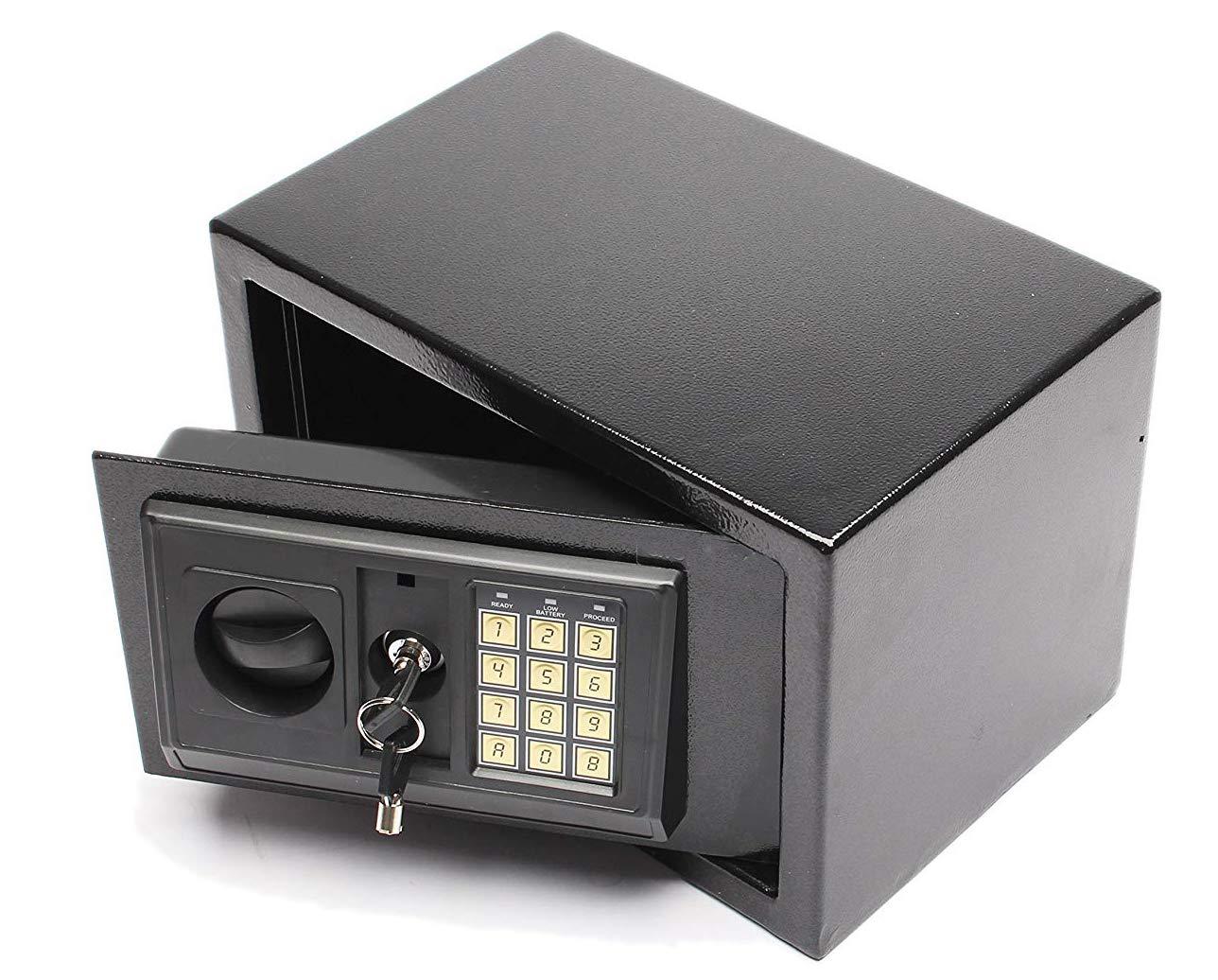 Fobuy elettronica cassetto Safe W/full-digit tastiera e chiavi override–Struttura in acciaio INOX e nascosto da parete/da terra ancoraggio design–Funziona con 4batterie AA (incluse)