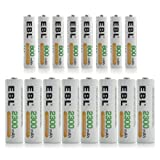 EBL 16 Pack AA AAA Ni-MH Rechargable Batteries Combo (8 X 2300mAh AA Batteries and 8 X 800mAh AAA Batteries)