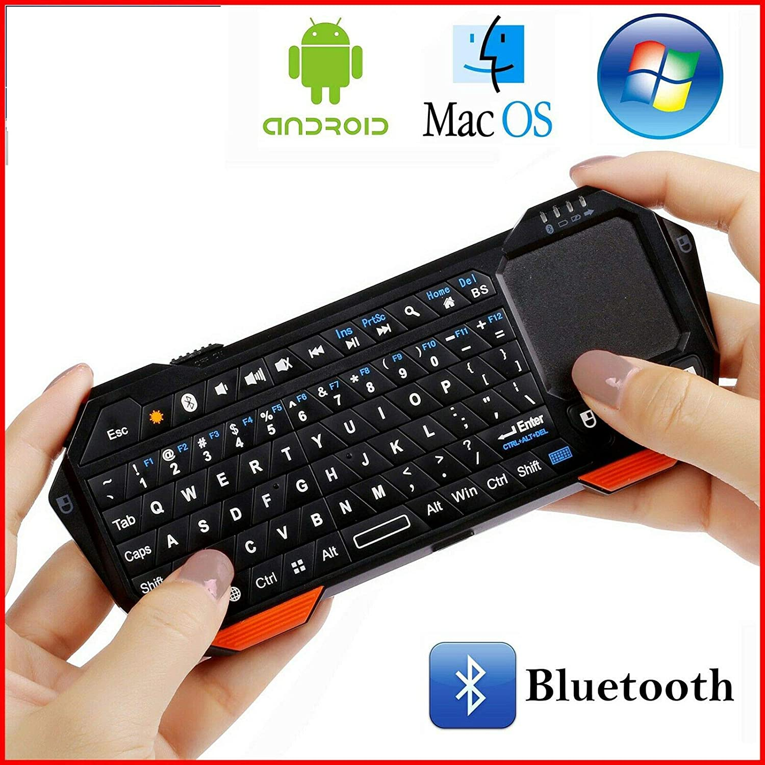 MeterMall Electronics Portable Backlit Mini Wireless Bluetooth Keyboard Touchpad for iOS Android Windows