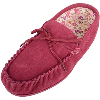04fa1bfcb68f Ladies Cotton Lined Pink Suede Moccasin Slippers with Hard Sole ...