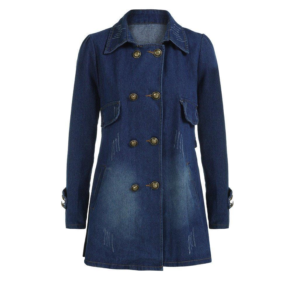 Kulywon Women Fashion Casual Long Sleeve Denim Jacket Long Jean Coat Outwear Overcoat by Kulywon (Image #2)