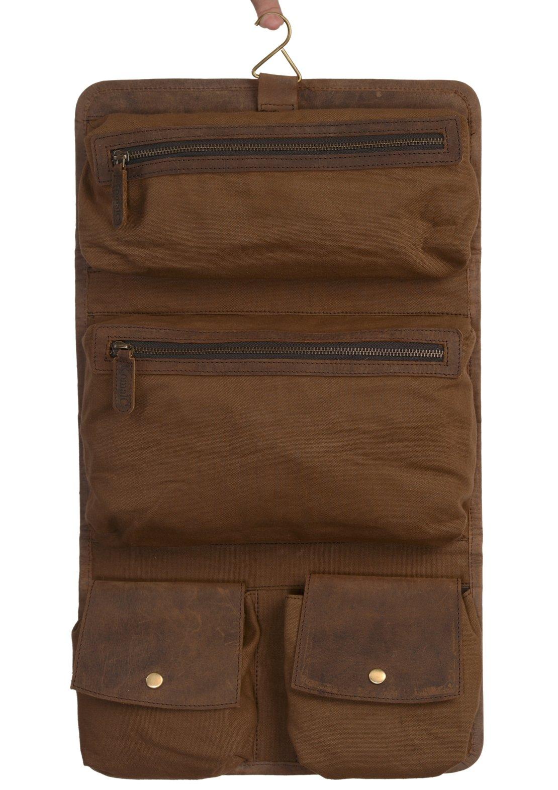 KOMALC Genuine Buffalo Leather Hanging Toiletry Bag Travel Dopp Kit ... (Distressed Tan) by KomalC