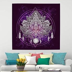 Leowefowa Purple Psychedelic Lotus Tapestry Sun Moon Face Wall Hanging Bohemian Tapestry Hippie Wall Blanket Living Room Bedroom Dorm Decor 59.1