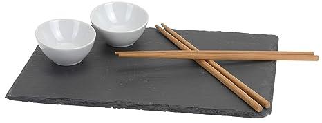 Natural Hambre Sushi – Juego Plato Servir, Plato de Pizarra (y 2 sosen Cuencos y 2 Juegos de Palillos