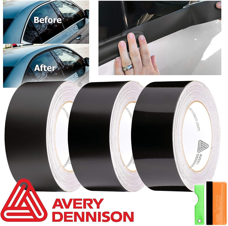 EZAUTOWRAP Free Tool Kit Avery Dennison Satin Black Vinyl Wrap Kit for Black Out Chrome Delete Window Trim Door Trim 2 x25Ft