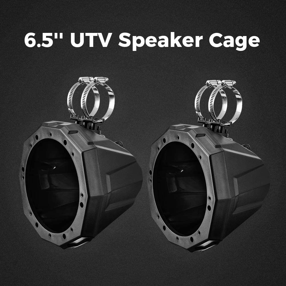 6.5 Speaker Cage Swivel Pods UTV ATV Speaker Enclosure with1.75 to 2 Mounting Clamps for Polaris RZR 900 1000 Can Am Maverick X3 Commander Defender