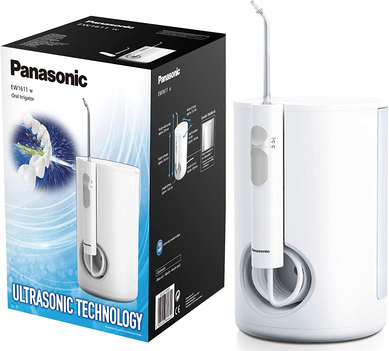 Panasonic EW1611W503 Irrigador bucal eléctrico Estacionario (tecnología Ultrasónica, 10 niveles de potencia, Depósito de gran Tamaño en Espacio compacto) Blanco