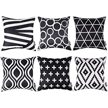 HOMFREEST Black and White Throw Pillows Case Geometric Pattern Throw Pillow  Covers 18\