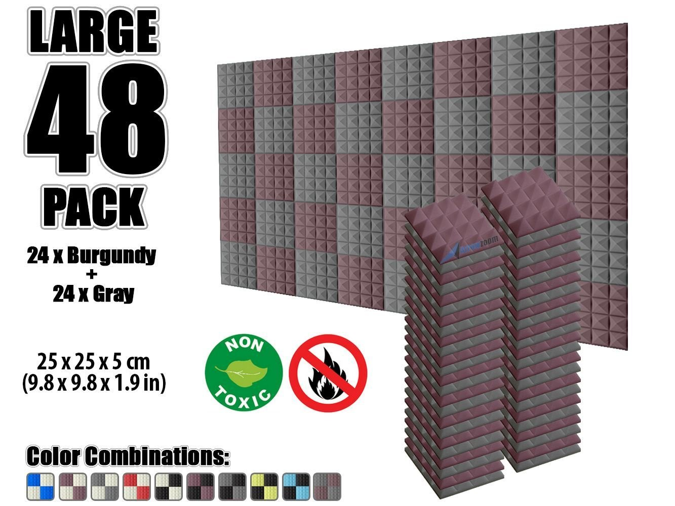 Arrowzoom New 48 Pack of 25 X 25 X 5 cm Soundproofing Pyramid Acoustic Foam Studio Absorbing Tiles Pads Wall Panels AZ1034 (BLACK & BURGUNDY)