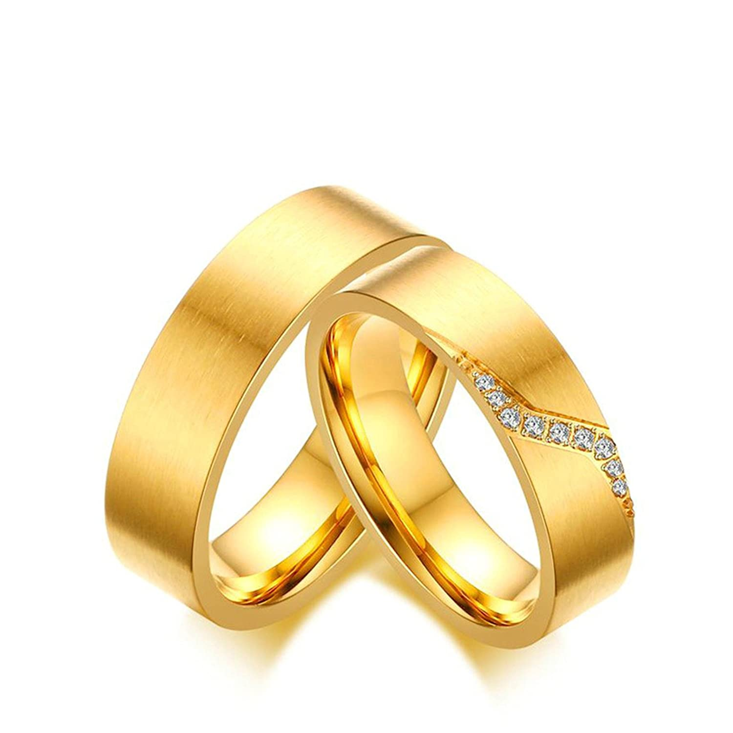 Aokarry Couples Wedding Ring His /& Hers Stainless Steel CZ Ring Brushed Sruface Gold Tone 6MM