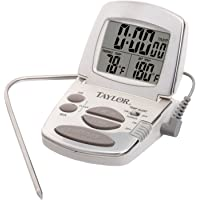 Taylor Precision Products Digital Cooking Thermometer with Probe and Timer (White)