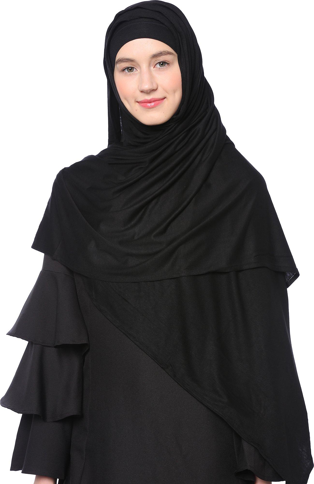 Ababalaya Womens' Cotton Pure Color Scarf Hijab, Black