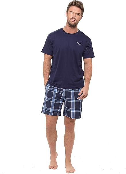 Hombre Pijama Top Manga Corta Camiseta & Tejido Shorts