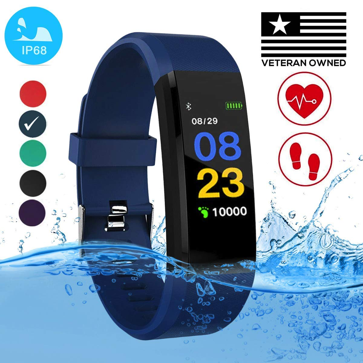 Burn-Rate Fitness Tracker Heart Rate Monitor - Smart Watches for Women & Men, Kids Color Smart Watch Fit Bracelet. Reloj Inteligente band Pedometer, Waterproof, Distance Activity bit for Android & iOS by Burn-Rate Fitness 115plus (Image #1)