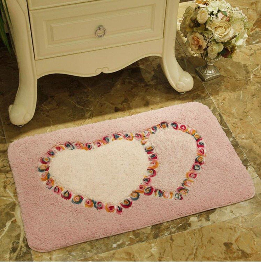Heart-shaped Flower Area Rugs-Judy Dre am Non-slip Kitchen Floor Mat Absorbent Bathroom Floor Mat Rug Rural Carpet Bedroom/Living Room/Bedside/Entrance Doormat 19'' X 30.7''