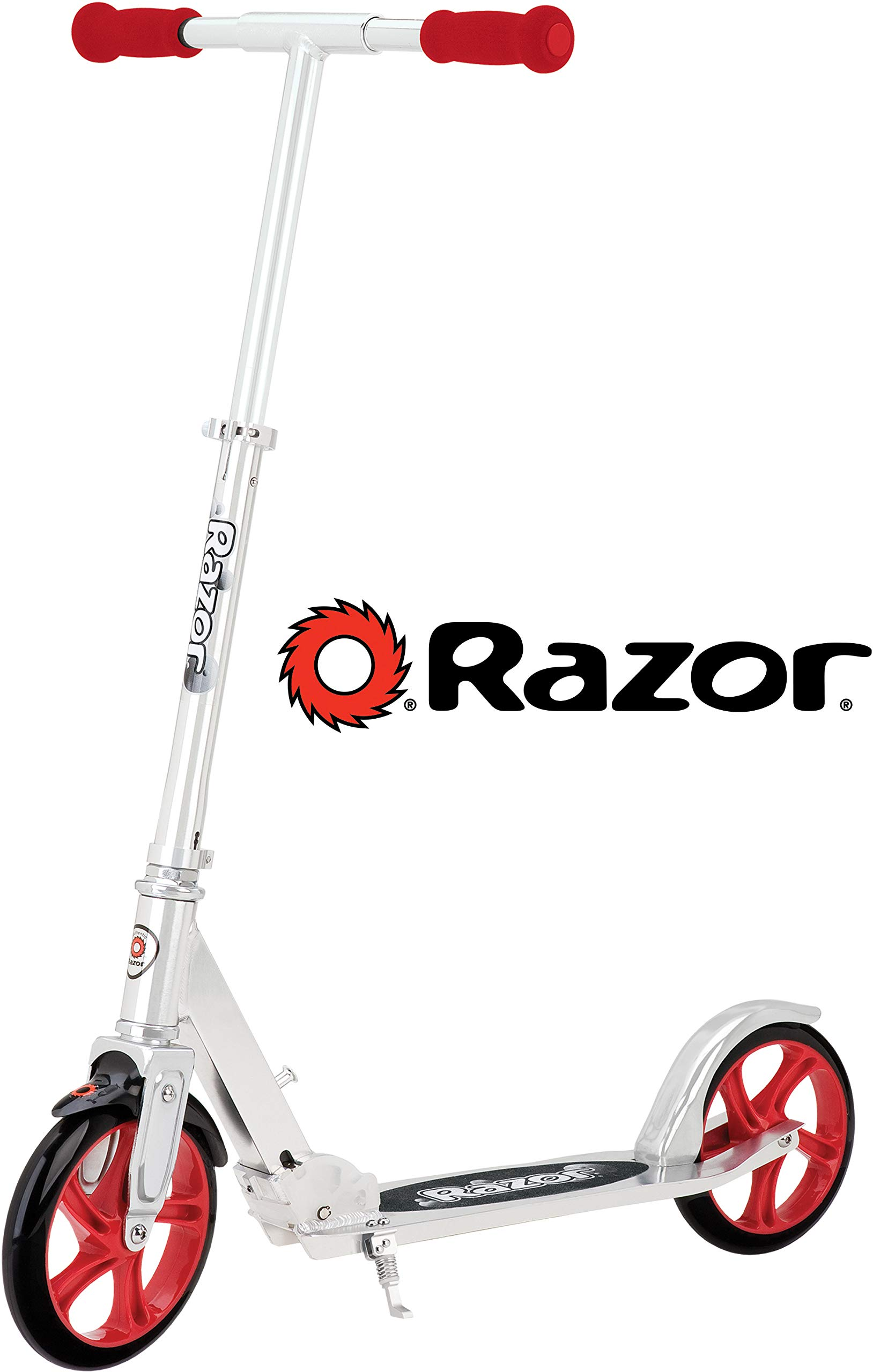 "Razor A5 Lux Kick Scooter - Large 8"" Wheels, Foldable, Adjustable Handlebars, Lightweight, for Riders up to 220 lbs"