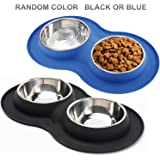Roysili Double Dog Bowl Pet Feeding Station, Stainless Steel Water and Food Bowls with Non Skid Non Spill Silicone Mat, Premium Quality Dog Bowl Holder for Small Medium Dogs Cats Puppy