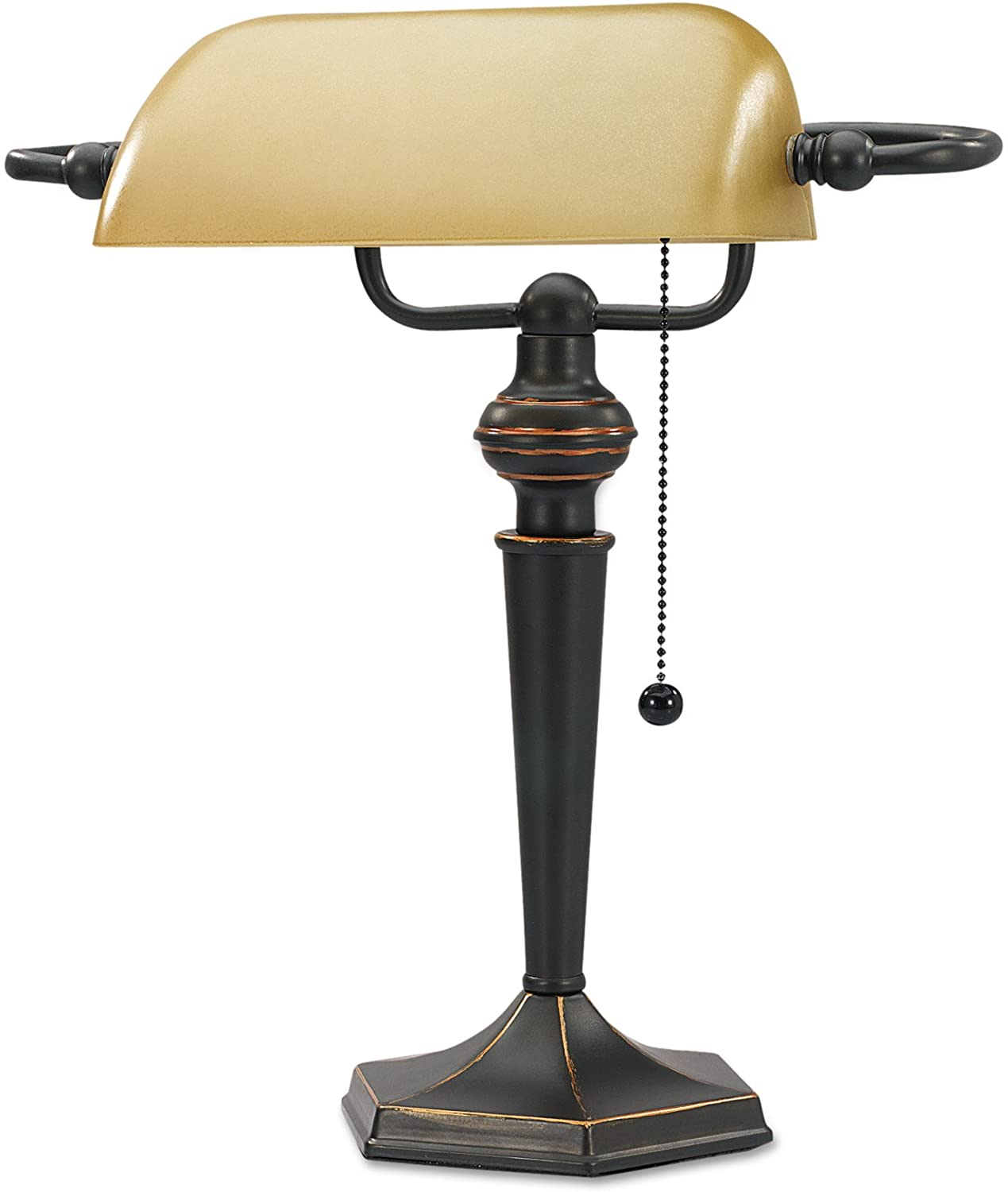 Alera Lmp537bz Traditional Banker S Lamp 16 High Amber Shade With Antique Bronze Base Amazon Ca Home Kitchen