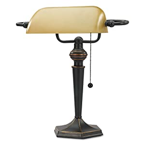 "Alera ALELMP537BZ Traditional Banker's Lamp, 16"" High, Amber Shade with Antique Bronze Base"