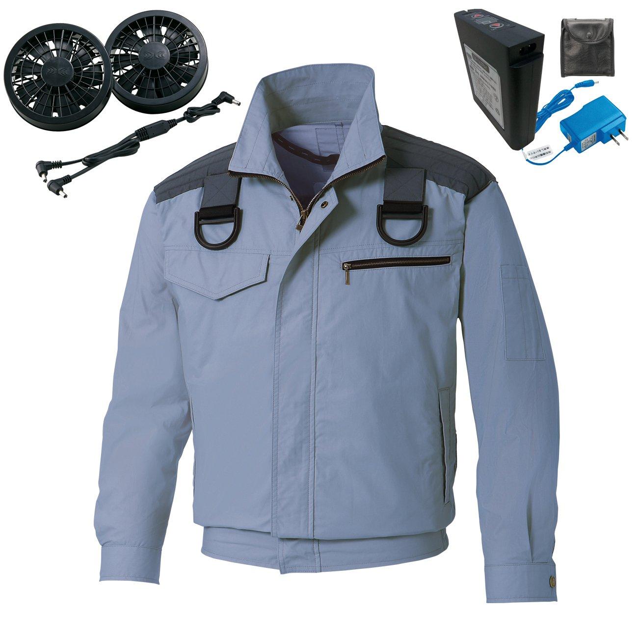 フルハーネス用 空調服 空調風神服 肩パット付長袖ブルゾン 綿100%(空調服社バッテリー+ファン)099‐KU93503F B071R2GFDD LL|4-ブルーグレー 4-ブルーグレー LL