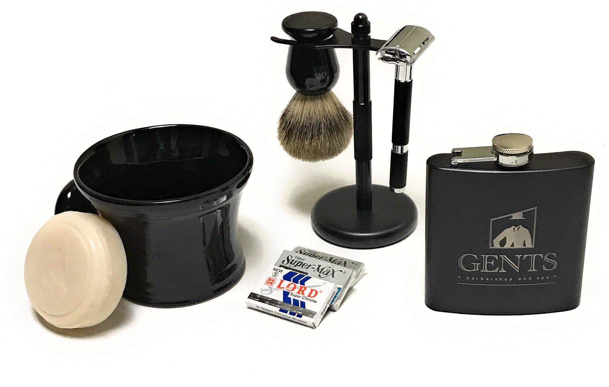 Long Handle Butterfly Safety Razor Set - Pure Badger Brush, Black Matte Stand, Ceramic Bowl and GBS 3 Oz Ocean Driftwood Shaving Soap +15 Blades & 6 oz Black Matte Flask