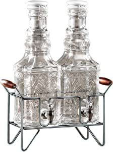 Style Setter Andrews 2 Liter Glass Set of 2 Double Beverage Drink Dispenser with Metal Stand and Ceramic Lid, 7x13x17, Clear