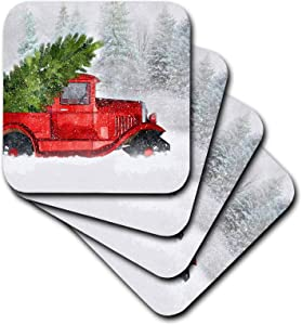 3dRose - Vintage Classic Old Red Truck with Christmas Tree in Woodland Snow