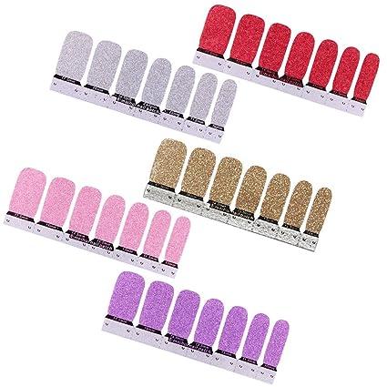Vococal - 5 Colores Uñas Postizas Artificial/Puntas de Uñas Falsa con Efecto Brillante y