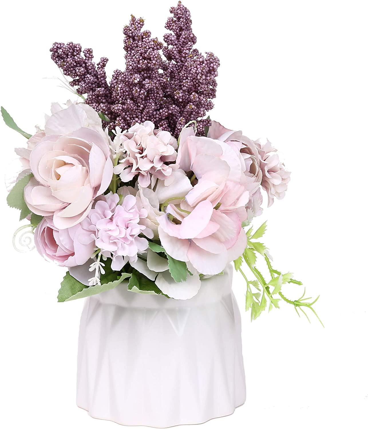 Sonifer Artificial Rose Silk Flower Bouquet Decoration Fake Flower with Ceramic Vase for Home Office Table Wedding (Purple)