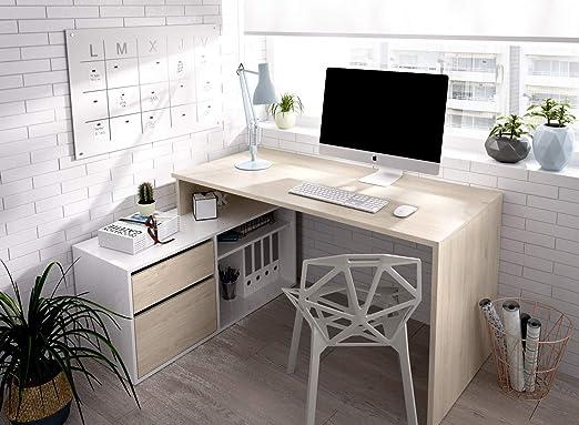 LIQUIDATODO ® - Mesa de estudio 139 cm moderna y barata en natural y blanco brillo: Amazon.es: Juguetes y juegos