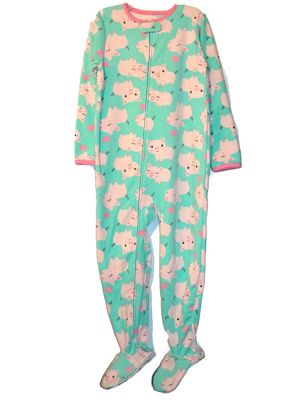 Cartrs Carters Simple Joys Girls Mint Pink Pig Print Fleece Pajama Sleeper