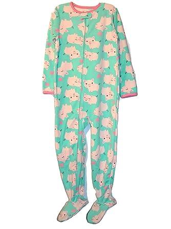 7e465dc11 Amazon.com  Carter s Simple Joys Girl s Mint Pink Pig Print Fleece ...
