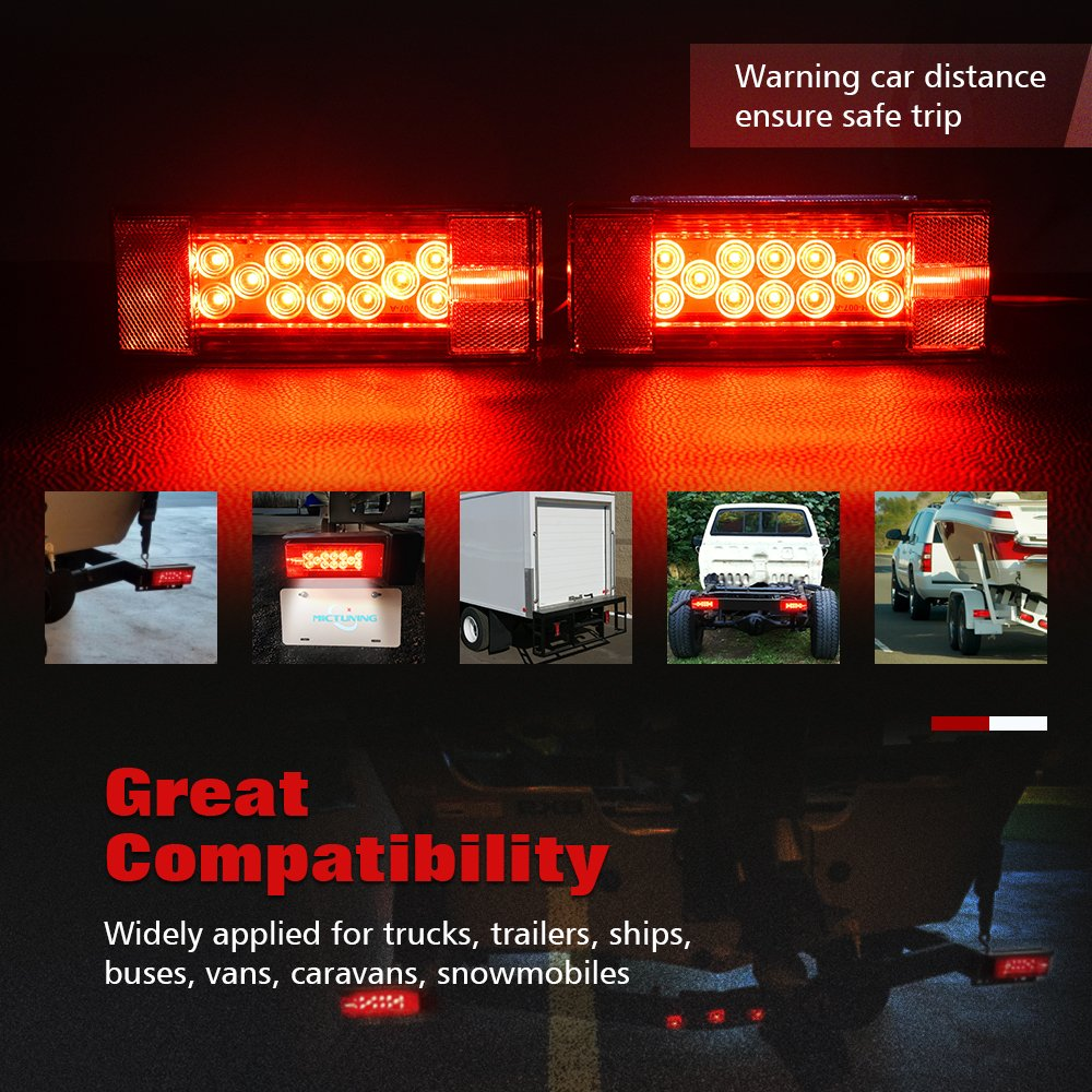 Mictuning Led Trailer Light Kit 12v Stop Tail Turn Signal Lights Boat 4 Pole Connector On Wiring With