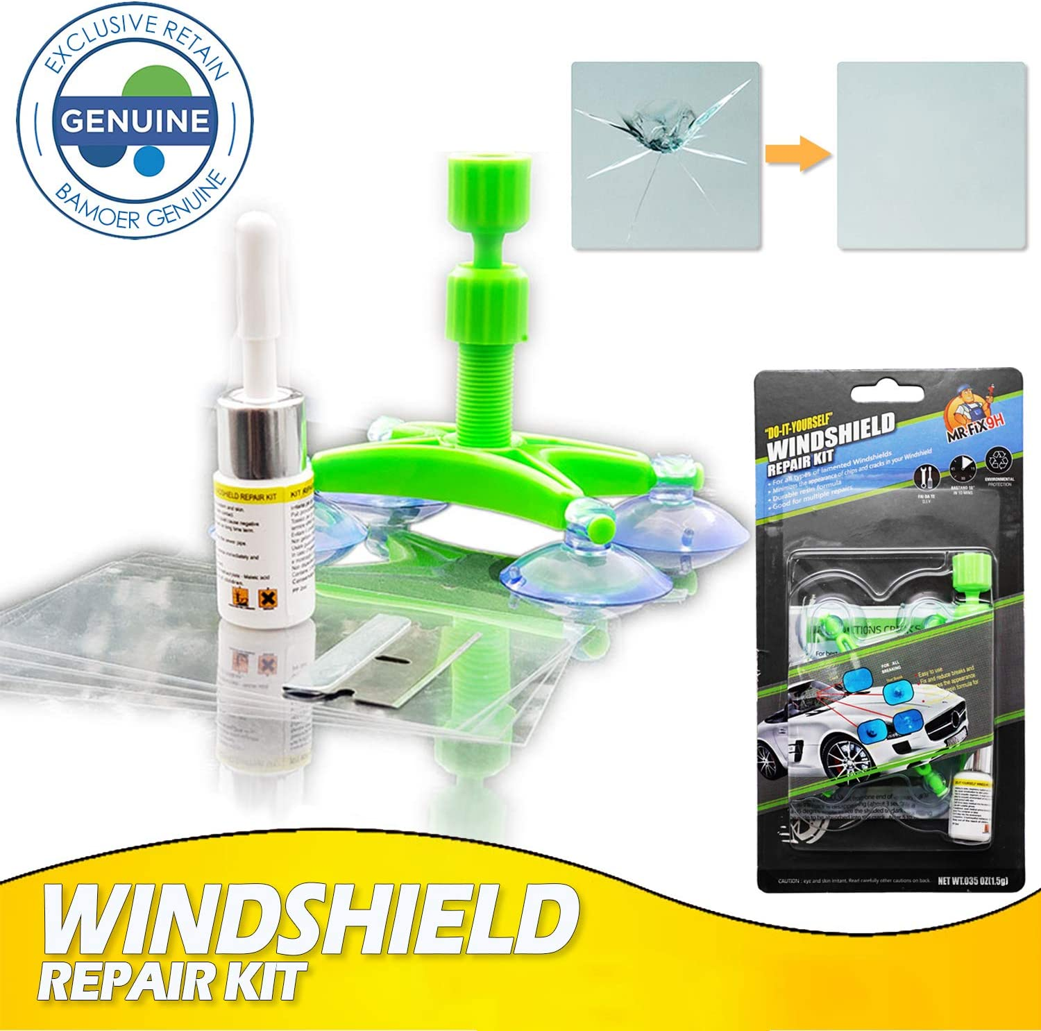 Bamoer Windshield Repair Kit,Newest Generation Car Windshield Repair Tools with Windshield Repair Resin for Auto Glass Windshield Crack Chip Scratch, Chips, Cracks, Bulll's-Eyes and Stars (Green)
