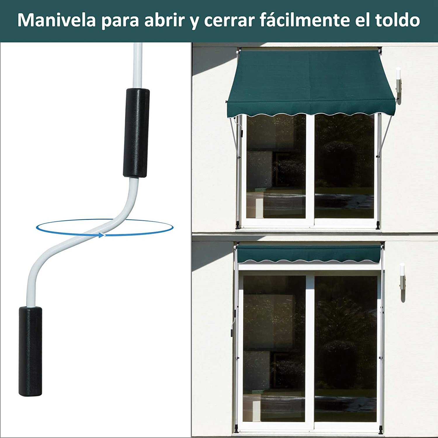Outsunny Toldo Manual Balcón Patio Toldo Portátil Plegable de ...