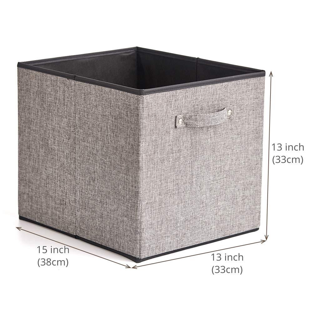 EZOWare 4 pcs Cajas de Almacenaje, Cubos Decorativos de Tela con Manijas para Ropa, Juguetes, Armario, Dormitorio, Estanterías y Mas - Gris y Negro ...