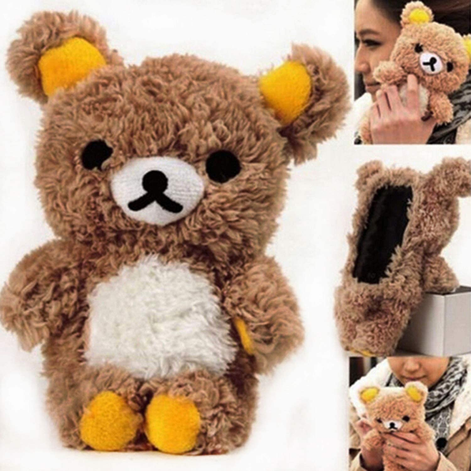Fusicase for iPhone XR Case Furry Case Style New Cute 3D Lovely Teddy Bear Doll Toy Cool Plush Fitted Back Phone Case Hair Plush Cover Fur Case for iPhone XR Brown