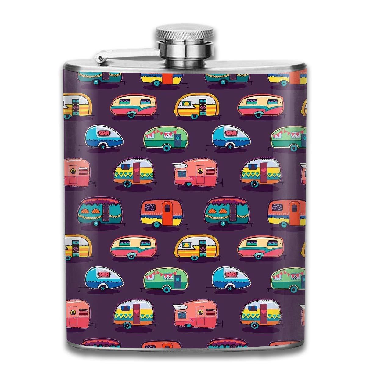 Sdltkhy Happy Camper Cars Hip Stainless Steel Flask 7 Oz