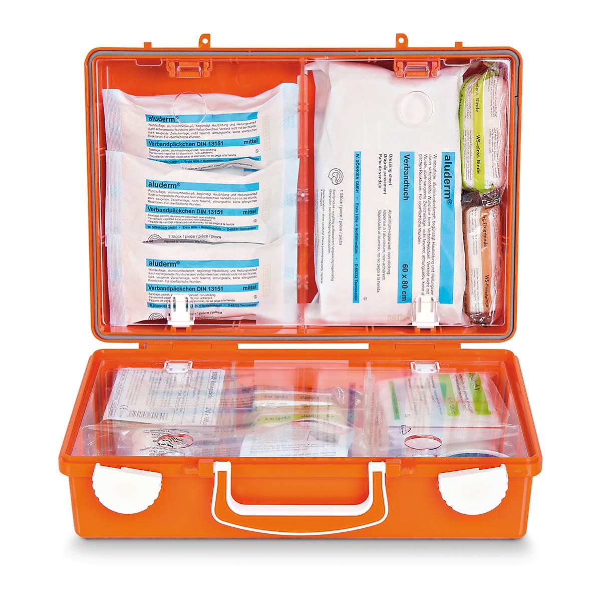 Erste-Hilfe-Koffer nach DIN 13157 - HxBxT 210 x 310 x 130 mm - mit Inhalt - Apotheke Apotheken Arzneischrank Arzneischränke Betriebssicherheit Erste-Hilfe Erste-Hilfe-Schrank Erste-Hilfe-Schränke Hängeschrank Medizinschrank Medizinschrä